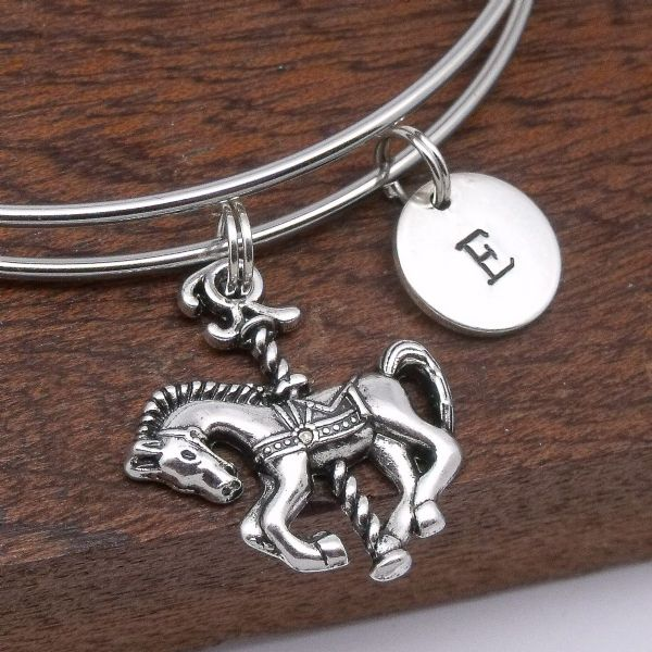 Carousel horse bracelet gift personalised jewellery initial